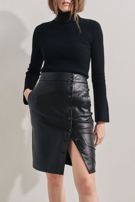 Baldwin BLDWN Wednesday Leather Skirt - Black