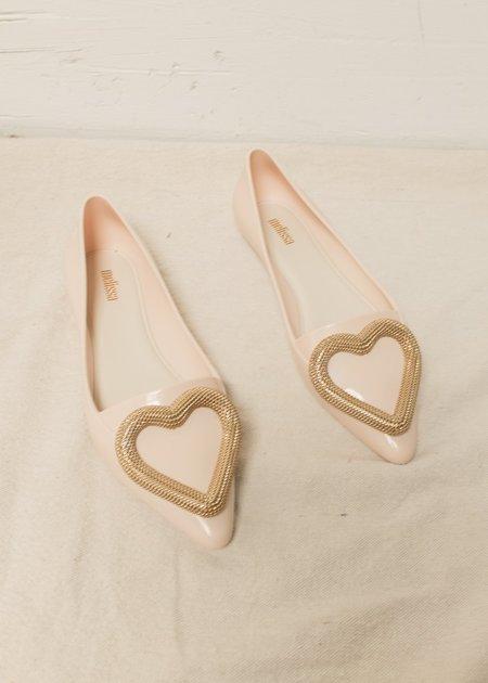Melissa Pointy Heart Flats - Beige/Gold