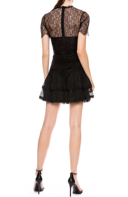 Jonathan Simkhai Lace Bustier Ruffle Dress - Black