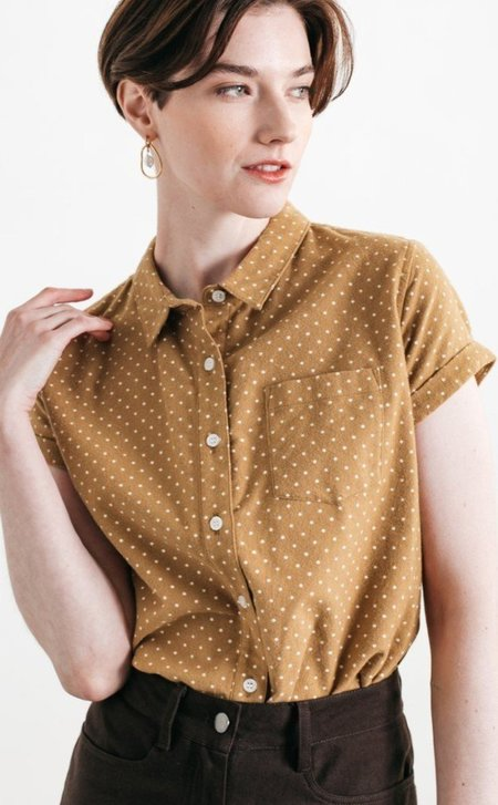 Bridge & Burn Bea Button Up Shirt - Gold Polkadot