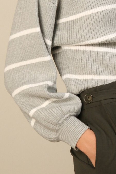 Line & Dot Stripe Sweater - Heather Gray