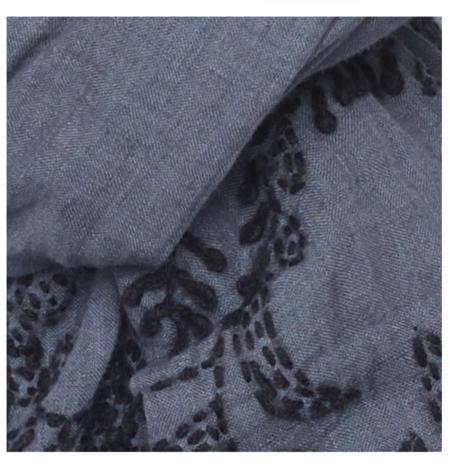 Indigo Handloom Bloom & Grey Scarf