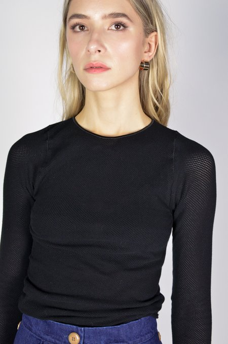 Baserange Odea Longsleeve Cotton Mesh Top - black