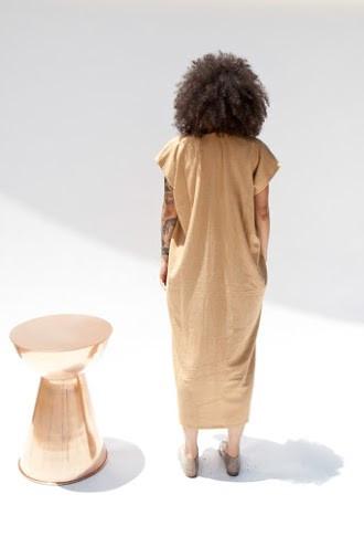 Miranda Bennett Everyday Dress, Oversized, Silk Noil in Camel