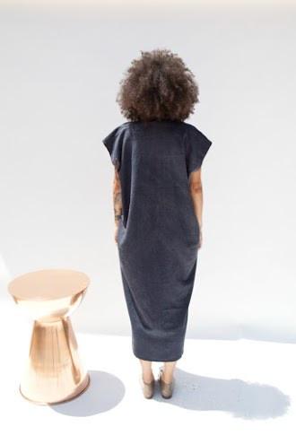 Miranda Bennett Everyday Dress, Oversized, Silk Noil in Coal