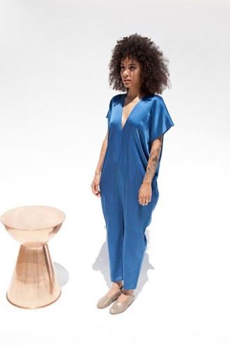 Miranda Bennett Everyday Jumpsuit, Silk Charmeuse in Indigo