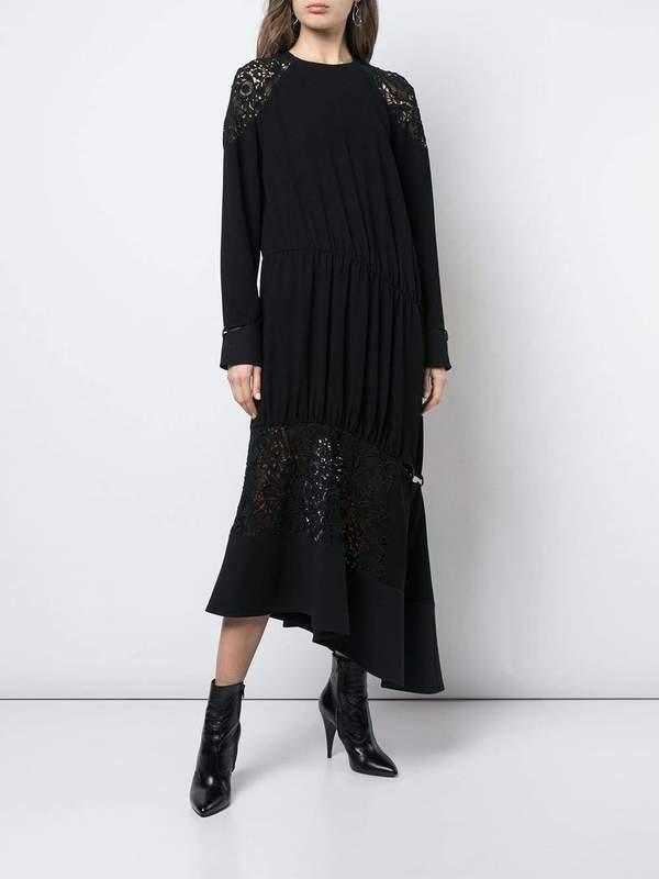 TIBI Guipure Lace Long Sleeve Lace Combo Dress - black