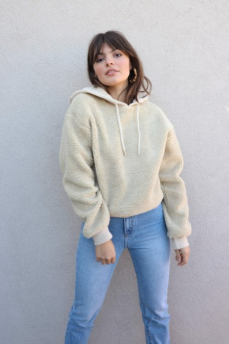 all row Fuzzy Hooded Sweater - Taupe