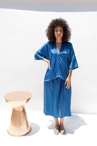 Miranda Bennett Muse Top, Silk Charmeuse in Indigo