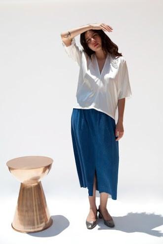 Miranda Bennett Muse Top, Silk Charmeuse in Natural