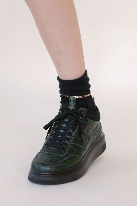 Suzanne Rae Lace Up Sneaker - Green Faux Croc