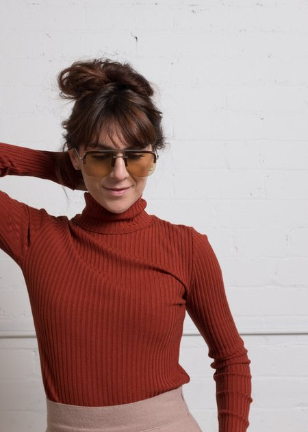 Acote Ribbed Turtleneck - Brick