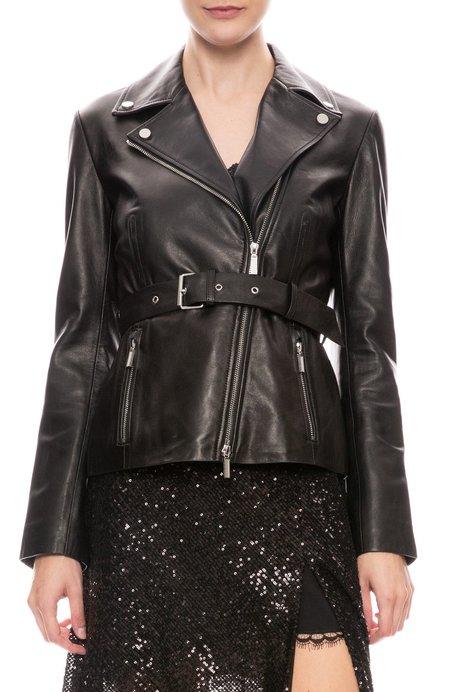 Jonathan Simkhai Leather Belted Biker Jacket - Black