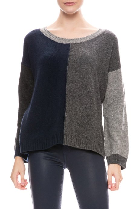 Jumper 1234 Multi Panel Cashmere Sweater - GREY/NAVY/CHARCOAL