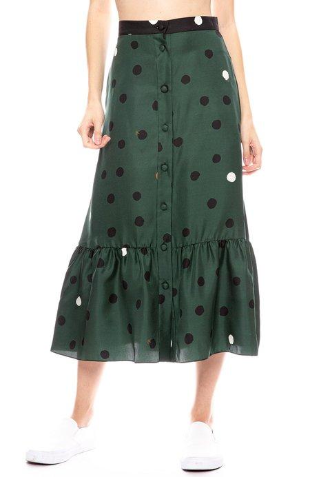 Chinti and Parker Painted Spot Silk Twill Skirt - JUNIPER