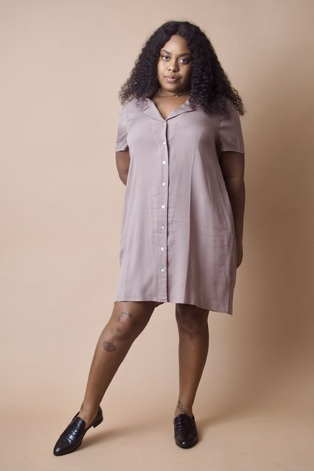 Altar Houseline Taupe Button Down Dress - Taupe