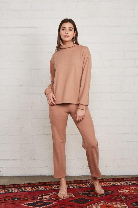 Rachel Pally Luxe Rib Turtleneck Sweatshirt - Latte