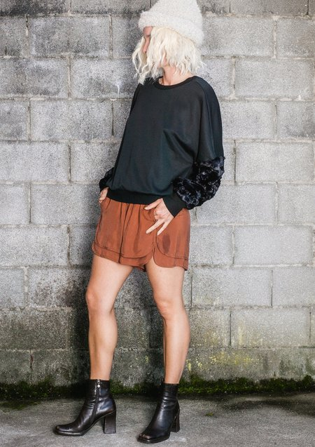 Berenik Faux Fur Sleeves Sweater - Black