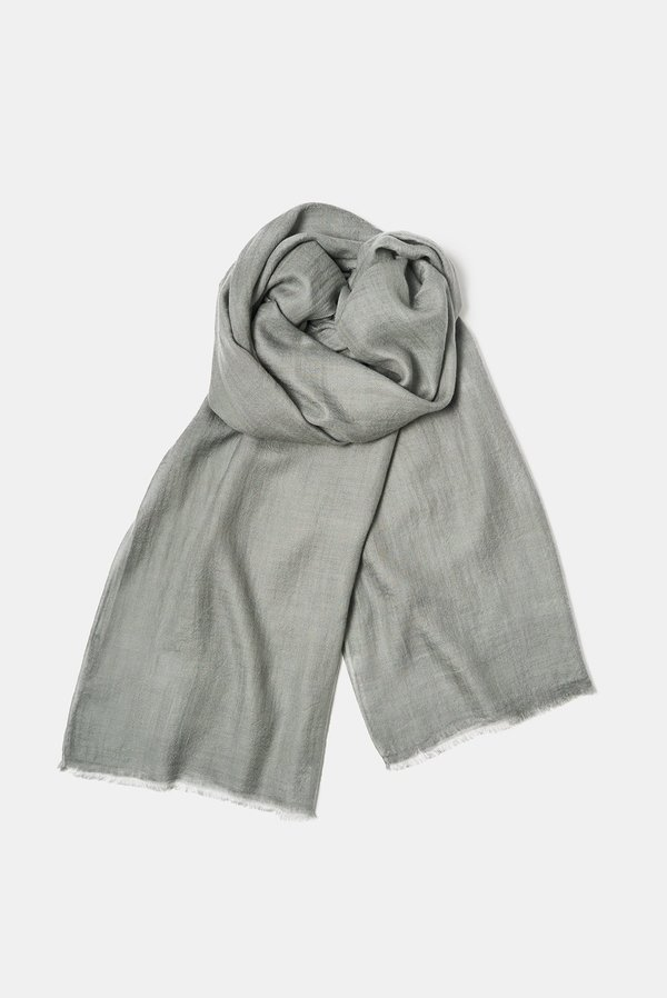 Oyuna Imani Woven Luxury Cashmere and Silk Shawl - Stone