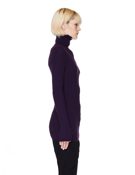 Yohji Yamamoto Rib Knit Zip-Up Sweater - Purple