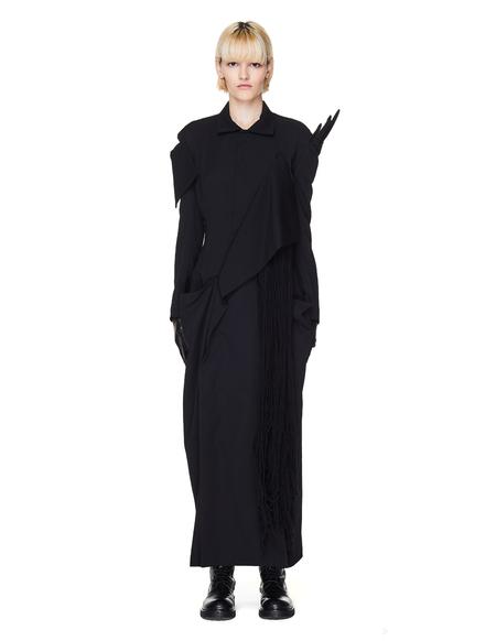 Yohji Yamamoto Yarn Trimmed Wool Dress - Black