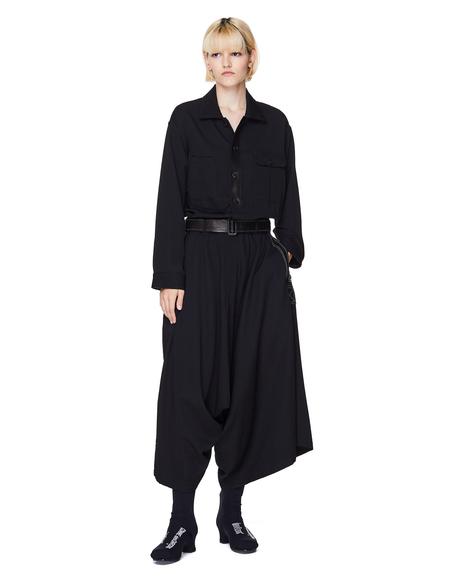 Yohji Yamamoto Wool Jumpsuit with Leather Belt - Black