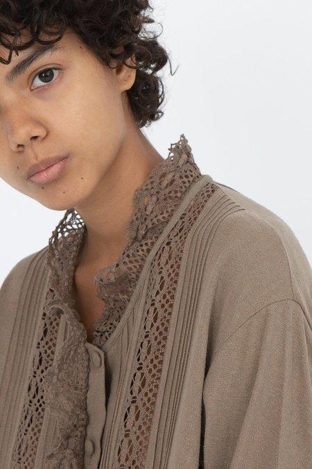 HALLELUJAH Victorian Long Button Front Dress - Khaki