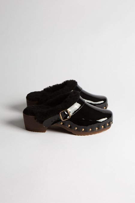 Bosabo Sheepskin Lined Patent Leather Clog - Black
