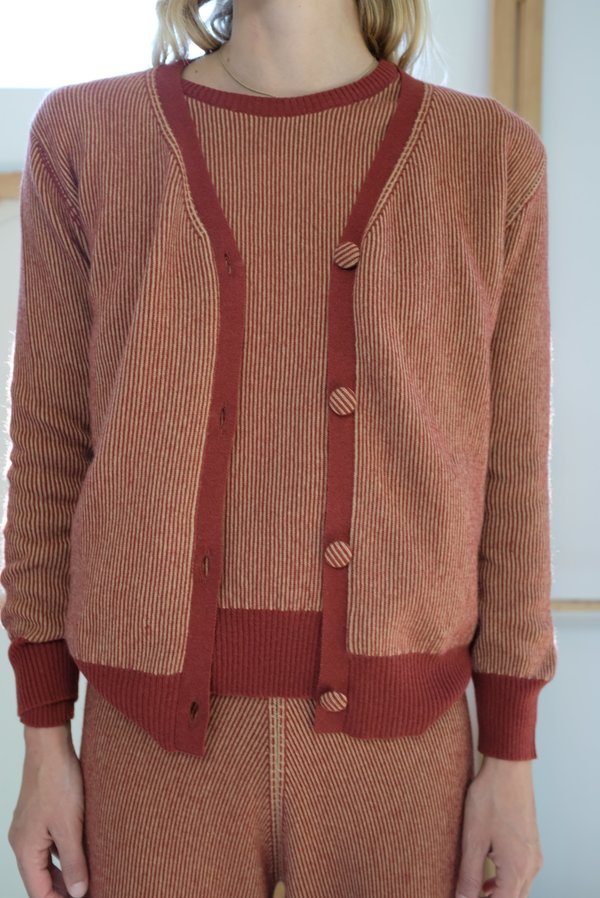Beklina Cashmere Ribbed Cardigan - Rust/Gold