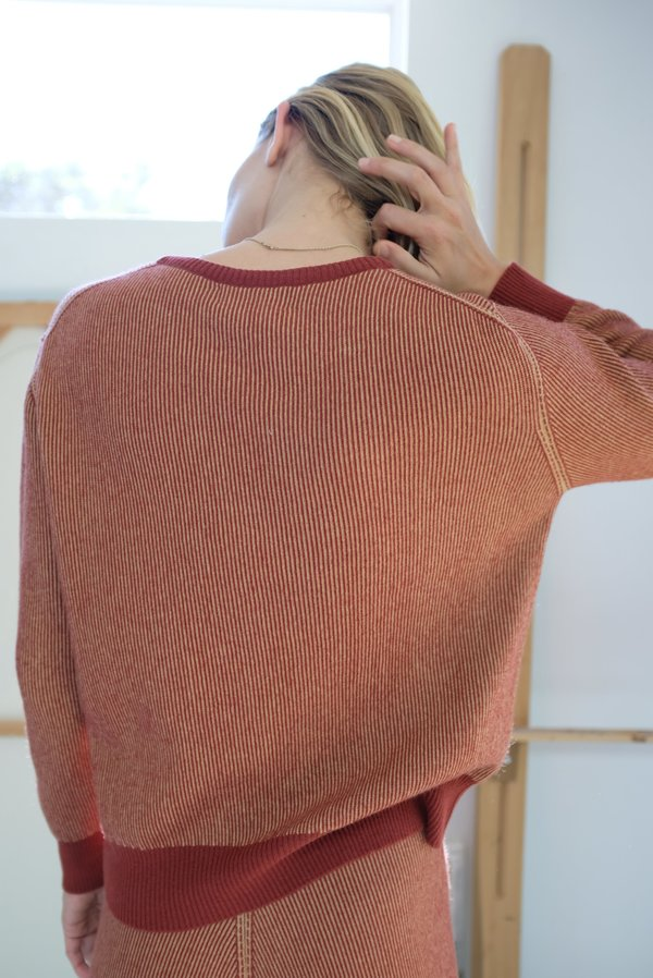 Beklina Cashmere Ribbed Crew Sweater - Rust/Gold