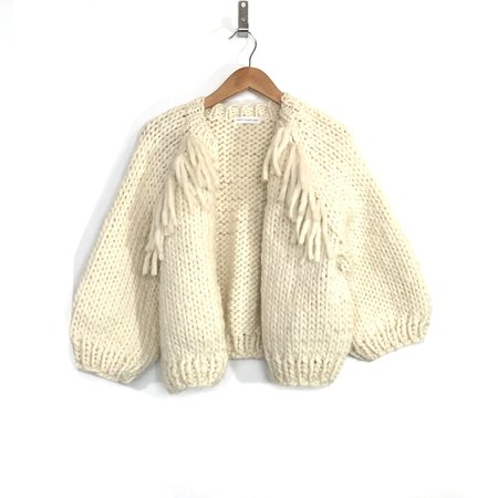 good night, day Perth Cardigan with Fringe - Natural