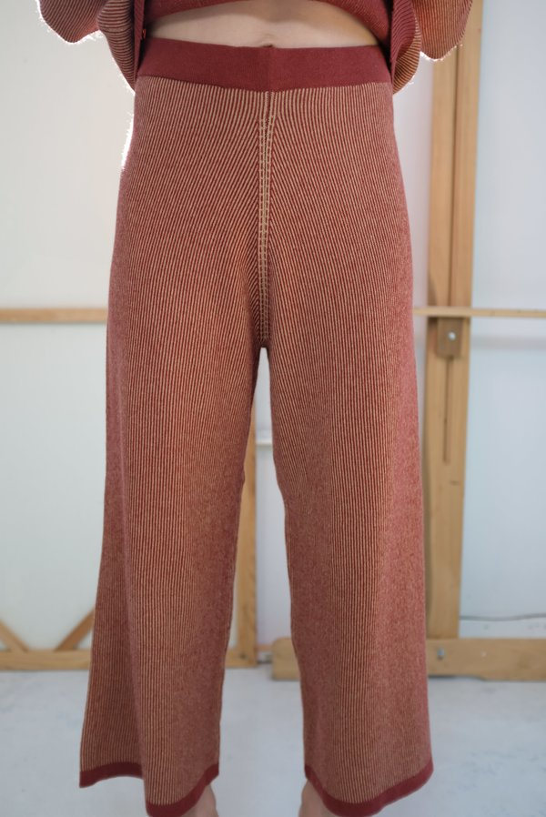 Beklina Cashmere Ribbed Trouser - Rust/Gold