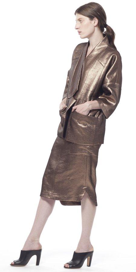 SCHAI Uti Pocket Midi Skirt - Copper Metallic