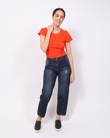 Amici x Baci Distressed Curved Seam Jeans