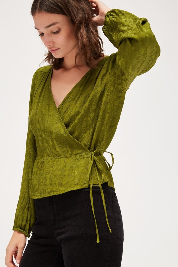 Lacausa Onyx Wrap Top - Moss