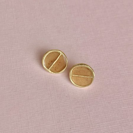 Takara Divided Moon Studs - Red Calcite