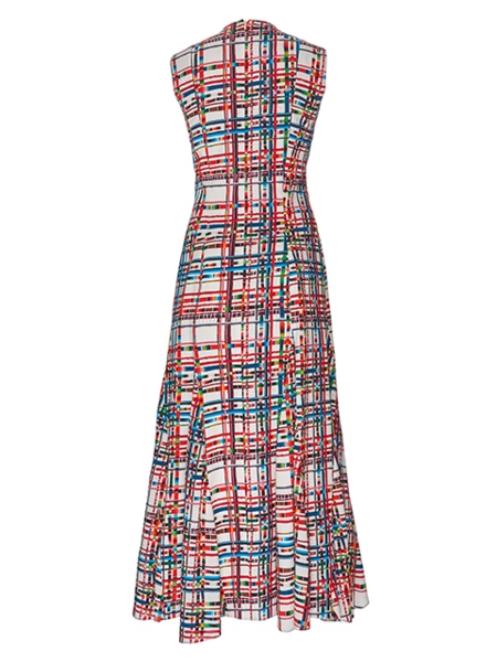 JONATHAN COHEN Striped Grid Anna Dress - Multi Patchwork Print