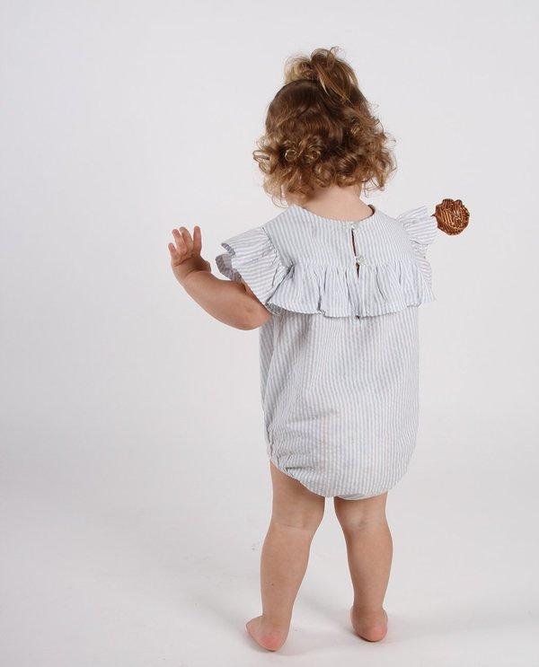 KIDS Feather Drum FRILL ONESIE - BLUE PINSTRIPE SEERSUCKER