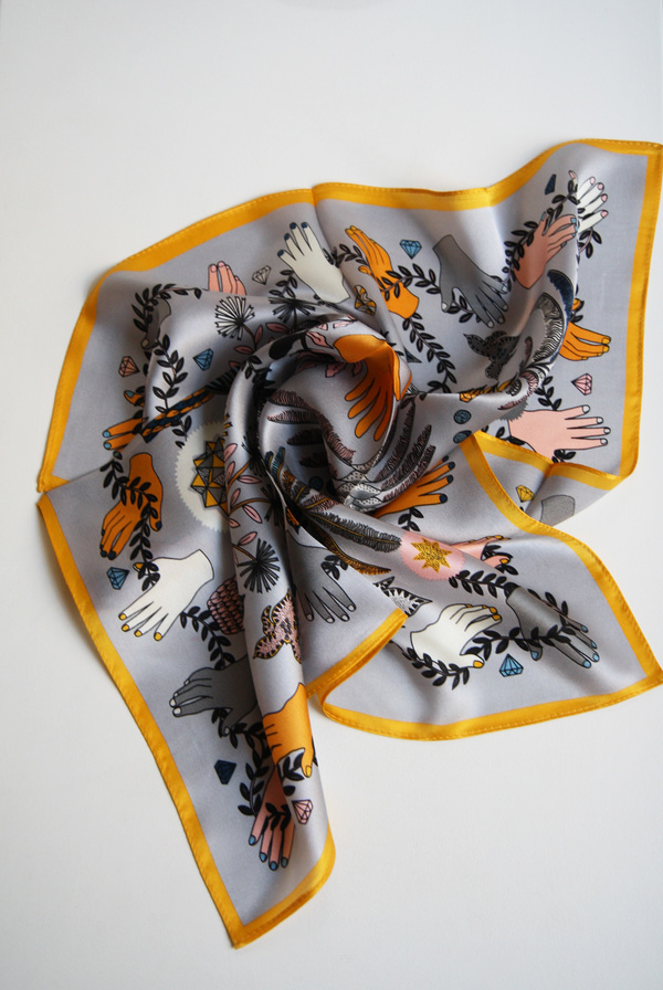 Seoul Collective Hands Of Nature Print Silk Scarf