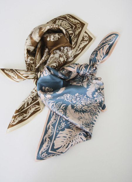 Seoul Collective Ferns And Feathers Silk Scarf