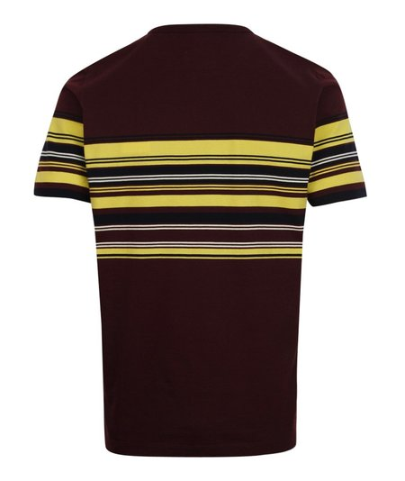 Albam Buren Stripe Short Sleeve Tee - Burgundy