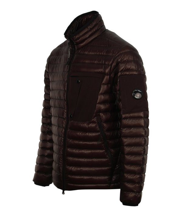 CP Company Quilted Down Lens Funnel Neck Jacket - Maroon