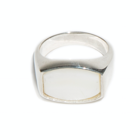 Unisex Tarin Thomas Archie Ring - WHITE MOTHER OF PEARL