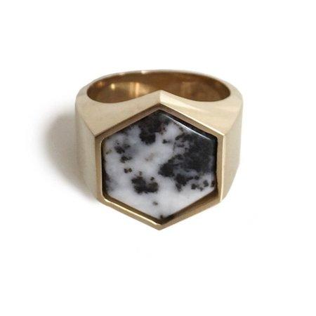 Unisex Tarin Thomas Beckham Ring - Black/White Jasper