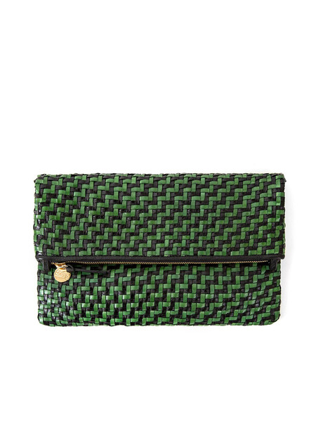 Clare V  Foldover Clutch - Black/Green Woven Zig Zag
