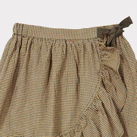 Kids Caramel Comana Skirt - Forest Microcheck