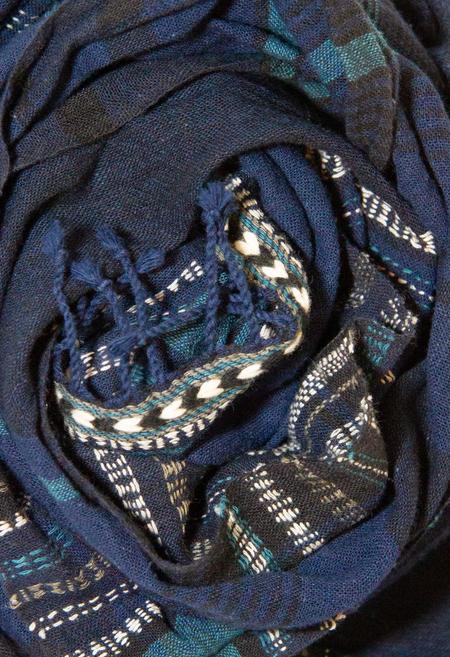 Chelna Desai Kala Cotton Scarf - Indigo Stripes