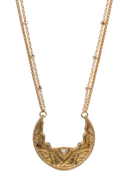 Lulu Designs Chandra Small Necklace with White Diamond - Yellow Bronze