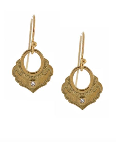 Lulu Designs Karma Earrings with White Diamond - Yellow Bronze