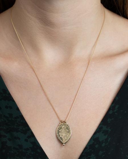 Lulu Designs Laxmi Shield Necklace - Yellow Bronze